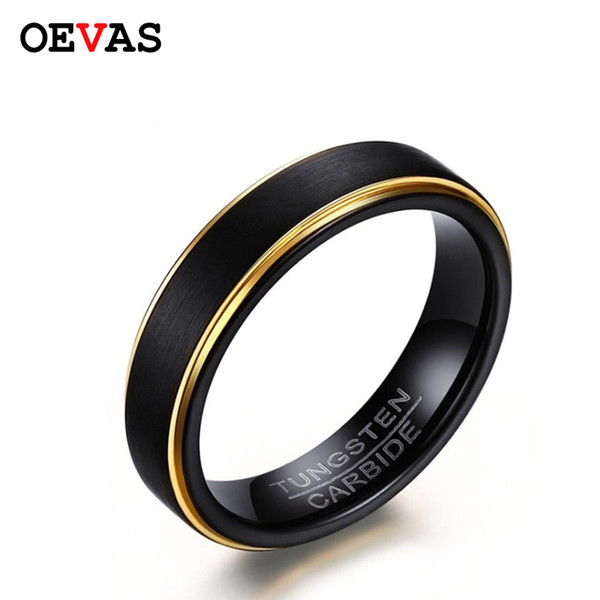 tout neuf bc9be cae9a 2019 New Fashion Black Gold Color Matte Finished Tungsten Carbide Ring  Elegant 5mm Mens Jewelry Wedding Ring Never Fade Bijoux Bague From  Daliangzhou, ...