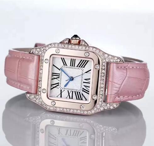 Mode Luxusuhren Unisex Frauen Männer Uhr Quadrat Diamanten Lünette Lederband Top-marke Quarz Armbanduhren für Männer Dame Beste Geschenk 2018