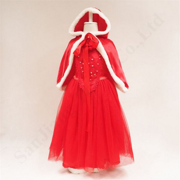 Ragazze Snow Princess Abiti con Capo cappello dei bambini Ice Princess trucco Minigonna Mantello del partito bambini costume di Natale di Cosplay Abiti C110505
