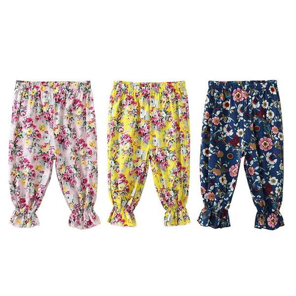 2019 summer New style baby girl Trousers Summer Kids flower Printed cotton Bloom pants 3 style