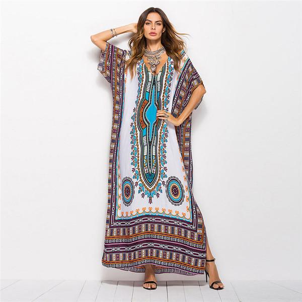 Designer Women Dress Luxe Style Sud-américain Imprimé Casual Mode Robe Robe Robe Grandes Tailles Taille libre Couleur différente disponible
