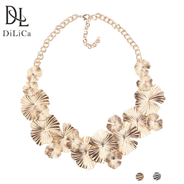 Venta al por mayor collar de la declaración de la hoja de la aleación de la vendimia para las mujeres oro plata color encantos gargantillas collares collar de la joyería Ketting