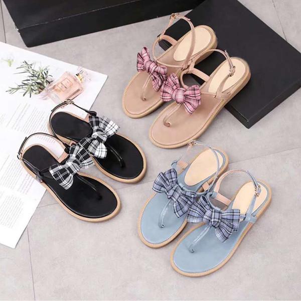 women summer comfortable sandals ladies fashion outdoor shoes genuine leather flat sandals bowtie buckle strap sandals