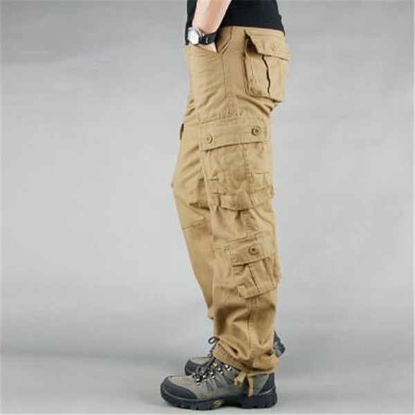 Moda Askeri Stil Erkek Kargo Pantolon Casual Çoklu Taktik Askeri Pantolon Bahar Pamuk Ordu Pantolon Men 8 Cepler Y200114 Cepler