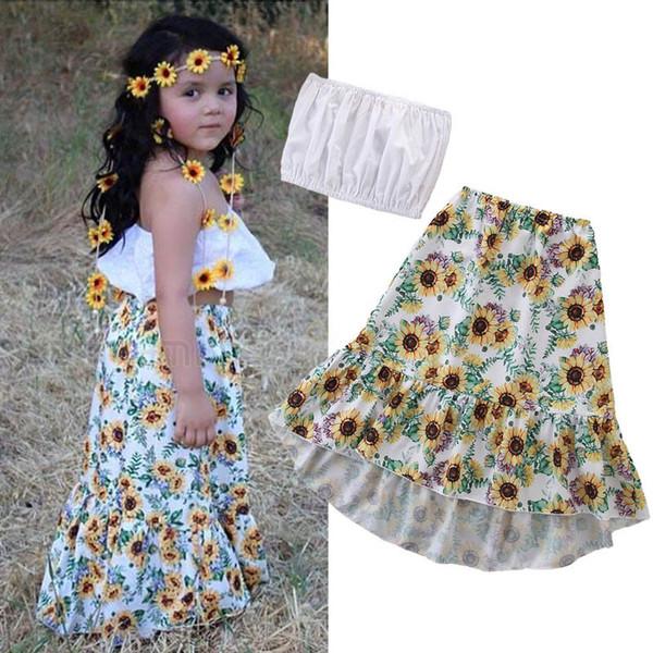 Детская дизайнерская одежда Девушки наряды Костюмы для девочек Летние детские комплекты Пляжное платье Костюмы Детская одежда Топы + Цветочная длинная юбка Одежда для девочек A5800