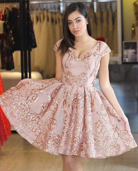 2019 short cocktail dresses a line v neck appliqued lace pink homecoming dress sequins formal party gowns plus size custom made - from $129.76