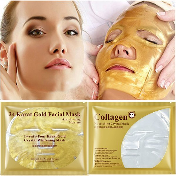 Gold Collagen Face Mask Crystal 24K Gold Collagen Facial Masks Moisturizing Skin Care Korean Cosmetics Mask