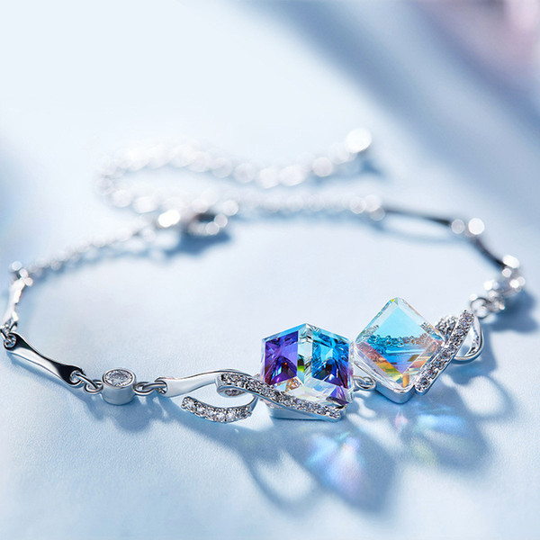 Frauen Würfelzucker Design Kristall Armbänder Freundschaft Liebe Charme Armband Weibliche Elegante Armreif Mode-accessoires Schmuck