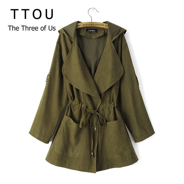 TTOU Mujeres Jack Escudo Escudo otoño de manga larga con capucha de la chaqueta informal elástico de la cintura del bolsillo de Kimono femenino flojo Outwear