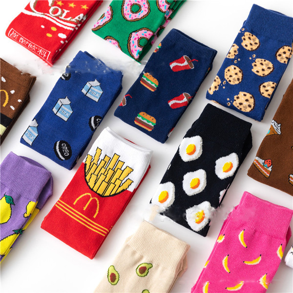 top popular Women Socks Funny Cute Cartoon Fruits Banana Avocado Lemon Egg Cookie Donuts Food Happy Japanese Harajuku skateboard Socks 2021