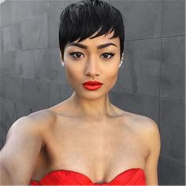 Kısa Pixie Peruk İnsan Saç Siyah Kadınlar için İnsan Saç Kısa Siyah Peruk Brezilyalı Saç Kısa Boy Kesim Peruk