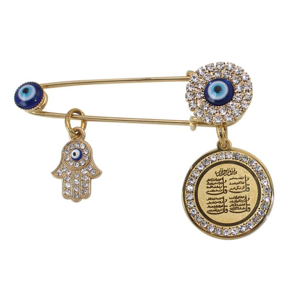 wholesale muslim islam hamsa hand of fatima four Qul suras Turkish evil eye Scarf Hijab crystal Stainless Steel Pin brooch Baby Pin