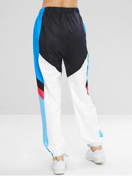 Pantaloni da jogging zada color block con grafica 2019 per adulti di nuova moda femminile