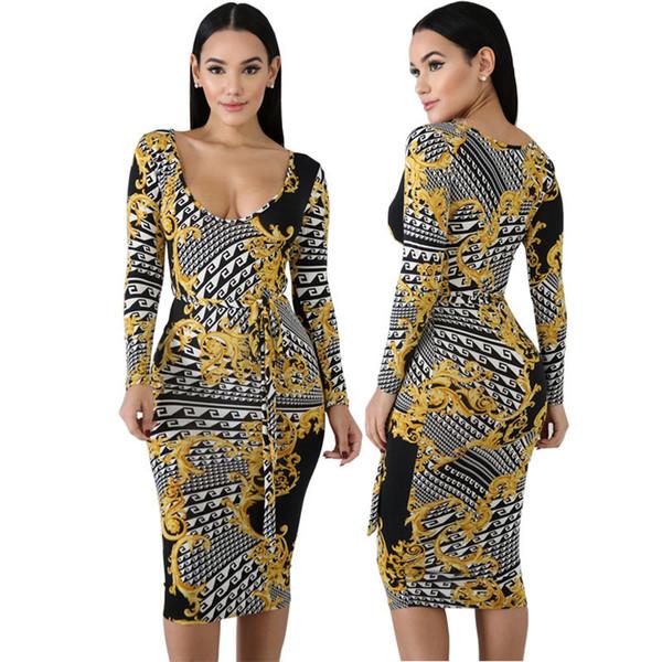 Cy8082. Traje vestido vestido de vendaje de impresión sexy vestido de nalgas vestido