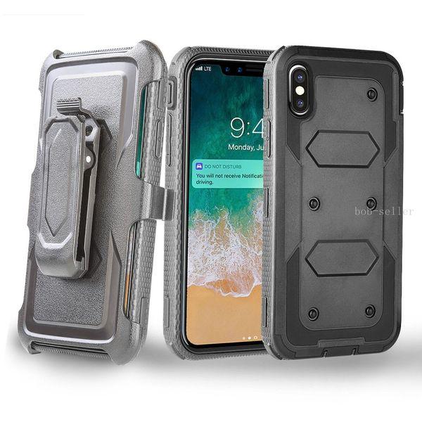 Para iphone Xs Max Xr X 8 más 7 más 3 en 1 TPU + Funda de clip para PC Fundas para teléfono de Heavy Duty Defender