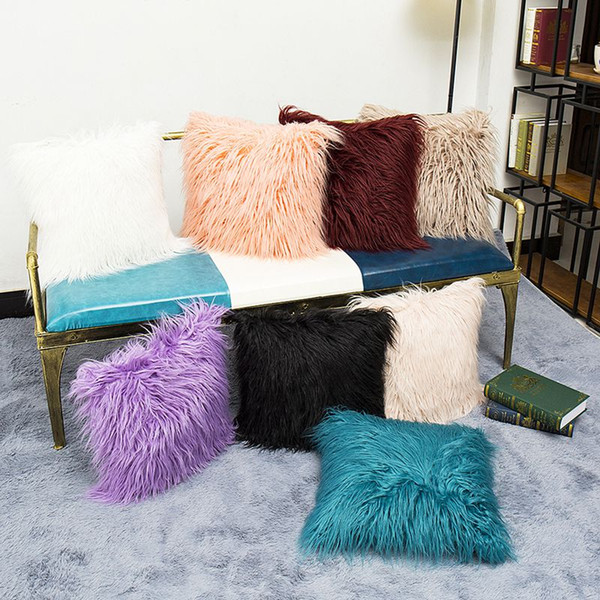 Cojines Sofa Online.Long Plush Fur Furry Cushion Cover Decorative Fluffy Chair Sofa Throw Pillow Case Winter Cojines Decorativos Modern Home Decor Cushion Covers Online