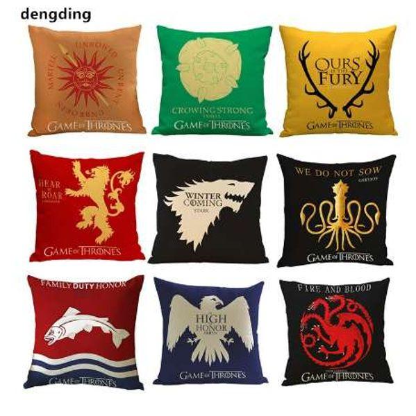 1 pcs capa de almofada Game of Thrones casa Sigils família Crest fronha estilo vintage fronhas para casa