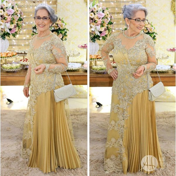 2019 Arabic Gold Sexy Mother Of Bride Dresses Long Sleeves Beaded Mother Of Groom Dresses Long Sleeves Formal Party Evening Gowns ZJ494