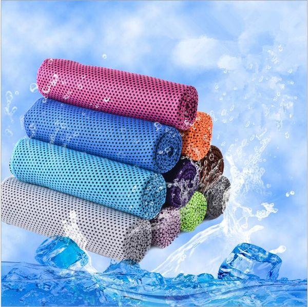 Magic Ice Towel 90 * 30 CM Multifuncional Enfriamiento Verano Frío Toallas deportivas Bufanda fresca Cinturón de hielo Suministros de baño para adultos CFYZ136