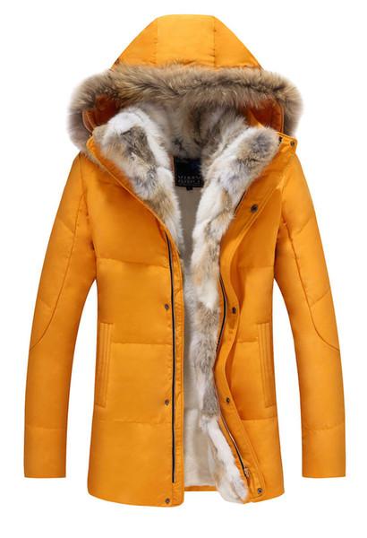 Winter Männer Designer Ente Daunenjacken Mäntel Echte Kaninchenfell Männer Mode Dicke Warme Parka Klassische Männer Jacken
