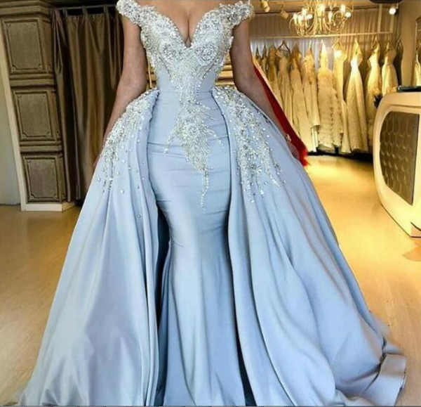 Light Blue Prom Dresses With Detachable Train Off The Shoulder Satin Sweep Train Mermaid Evening Gowns Custom Made Special Occasion Dress