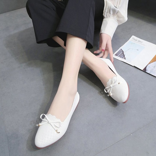 2019 New Casual Breathable Comfortable Women's Flat Shoes Summer Single Shoes Design Fashion White Wholesale Free shipping as607