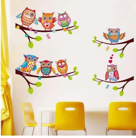 Gufi colorati Adesivi murali in cartone animato Gufi sull'albero Camera dei bambini Home Decor Stickers murali Stickers murali per ambienti bambini Rimovibili