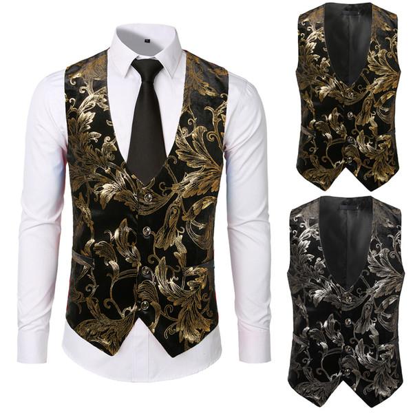 Erkekler Adam Suit Fit Punk Ceket Vintage Dış Giyim Düğme Tailcoat Yelek Altın Damgalama Baskı Moda Kısa Ince Yelek Colete B1