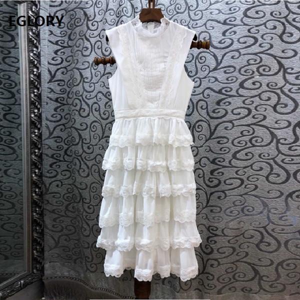 2019 Printemps Eté Designer De Mode Dress Femmes Volants Col En Dentelle Patchwork En Cascade À Volants Robe Princesse Dames Parti