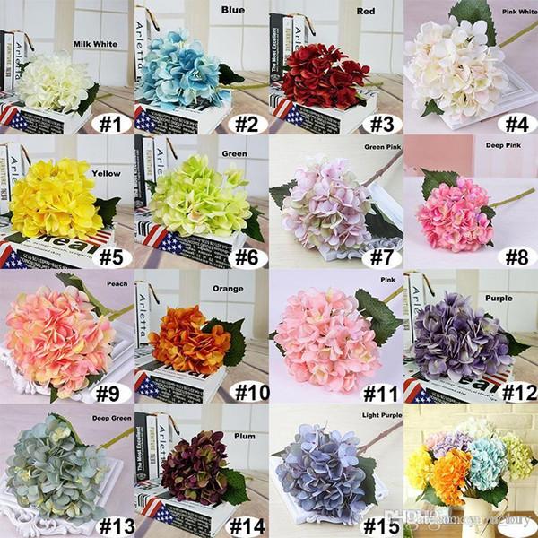 "EMS free shipping Real touch Silk Hydrangea Big Flower 19cm/7.5"" Silk White Wedding Flower Bouquet for Wedding Centerpieces Home Decor"