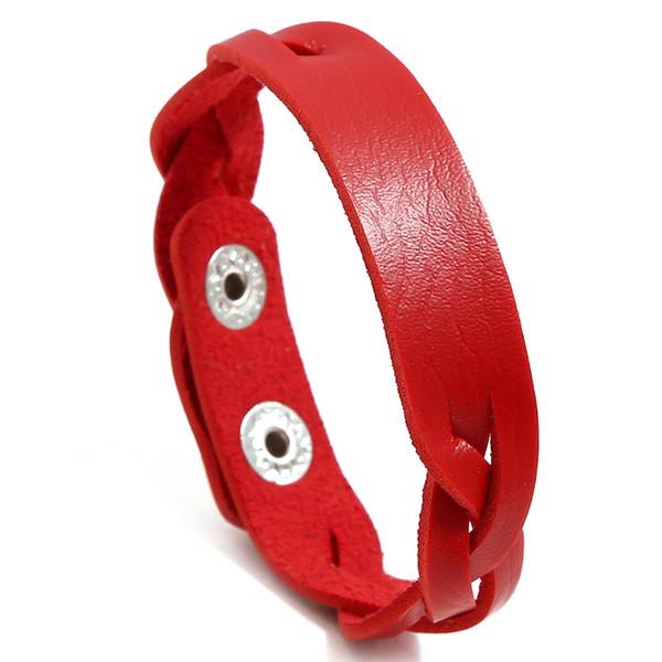 NIUYITID trenzada a mano de cuero PU pulsera brazalete rojo de las mujeres femme 2019 joyería de las muchachas del encanto del envío ajustable tamaño de gota