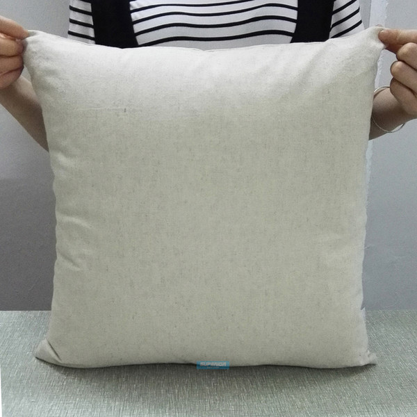 best selling 100 pcs ALL SIZES Plain Natural Gray Linen-Cotton Blended Pillow Cover Natural Flax Pillow Cover Thick Raw Linen Pillow Cover For Painting