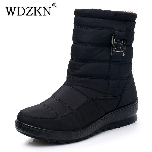 WDZKN Winter Warm Boots 2019 Women Snow Boots Fashion Waterproof Shoes Thick Plush Mid-Calf Zipper Casual Cotton Female