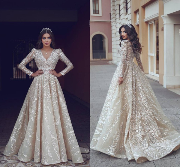 New Designer Said Mhamad 2019 A Line Evening Dresses Deep V Neck Long Sleeves Dresses Evening Wear Party Gowns Formal Dress BC1932