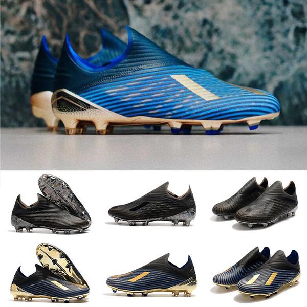 2019 Yeni X 19 + FG İç Oyun Koyu Senaryo Erkekler çocuklar Futbol Cleats Ayakkabı Laceless 302 Yönlendirme Paketi Donanma Siyah Altın Futbol Çizmeler Boyutu 35-45