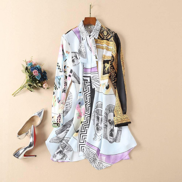 2019 Spring Autumn Long Sleeve Turn-Down Ribbon Collar Print Asymmetry Lady Above Knee Shirt Dress Luxury Runway Dresses N126850