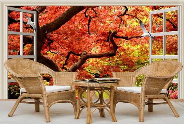 fenêtre papier peint papier peint fantaisie feuille rouge arbre 3D TV fond décoration murale peinture