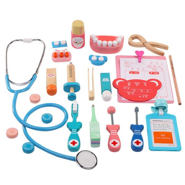 20 pçs / set crianças pretend play doctor brinquedo de madeira simulador de cosplay dentista acessórios ferramentas crianças play doutores toys