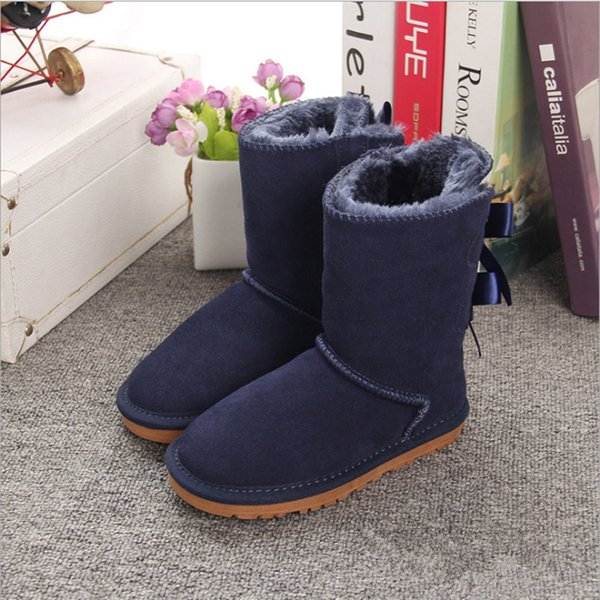 2cbfe6ac5d0 Girls Australia Style Kids mini Snow Boots Cute Bow Back wcaotamadeg Waterproof  Slip-on Children Winter Cow Leather Boots EU21-34