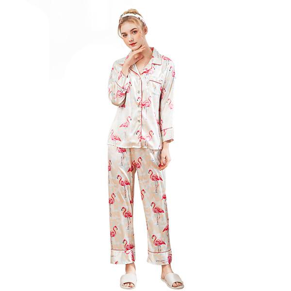 76c8a8c140df Compre 2019 Conjuntos De Pijamas Para Mujer Seda De Satén Mujer Primavera  Otoño Manga Larga Floral Ropa Para El Hogar Trajes De Pijama Sueños, Tops A  ...