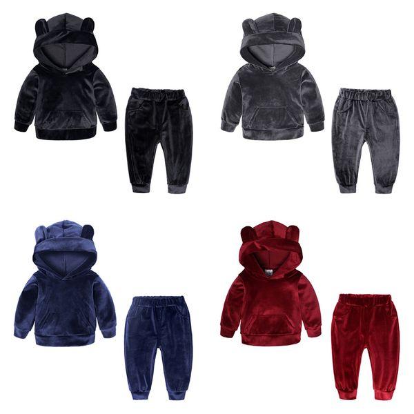 Baby Mädchen Jungen Gold Samt Outfits Kinder Bär Ohr mit Kapuze Top + Hosen 2pcs / Set Herbst Winter Anzug Boutique Kinder Kleidung Sets C5589