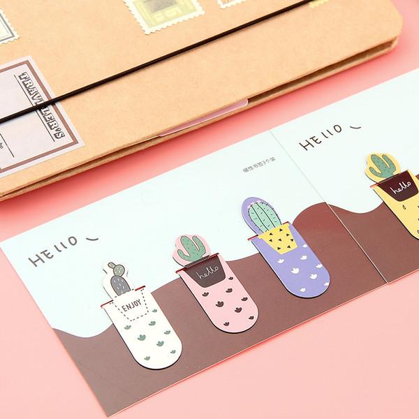 2019 3 unidades / pacote Growing Cactus Multi-função Magnética Bookmark Paper Lápis Clipe Escola Material de Escritório Papelaria Escolar