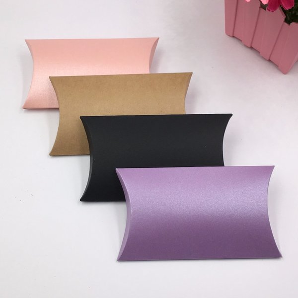 50pcs 12.5x7.5x2cm Kraft Gift Boxes Paper Pillow Box, DIY Packaging Box For Candy\Cake\Jewelry\Gift\chocolate\Party boxes free shipping