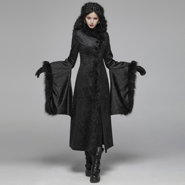 PUNK RAVE Frauen Gothic Herrliche Retro Jacquard schwarze lange Jacke Winter-Abend-Partei-Verein-langen Mantel-Bühne Weibliche Mäntel