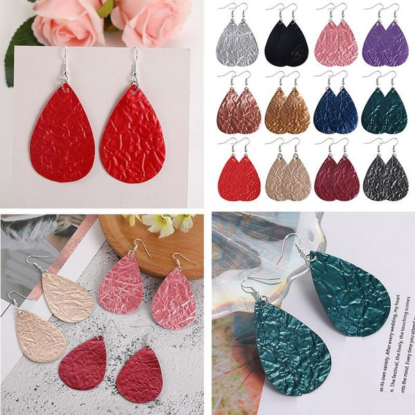 top popular New Fashion PU Leather Water Wave Teardrop Dangle Earrings Colorful Lightweight Double Side Hook Errings for Women Girls Jewelry Gift 2021
