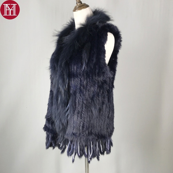 2019 Spring Autumn Women Real Rabbit Fur Vests 100% Real Rabbit Fur Knitted Gilet with tassels Real Raccoon Fur Collar coat SH190922