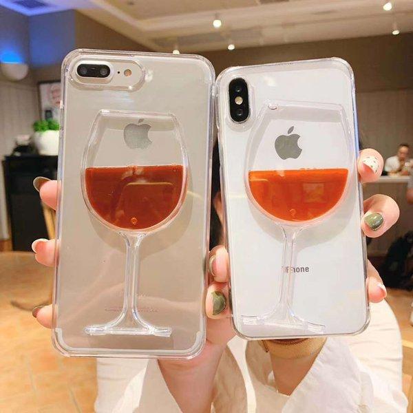 3D Coque Liquide Débit De Bouteille De Vin Rouge Couverture de Téléphone Coque Cas Pour iPhone XS X Pour iPhone 6 6S 7 8 Plus Cas Bluefactory