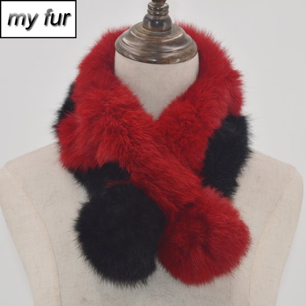 Scarf Women 2018 Winter Real Rabbit Fur Scarf Warm Rabbit Fur Scarves Knitted 100% Natural Real Causal Muffler For Lady Gift