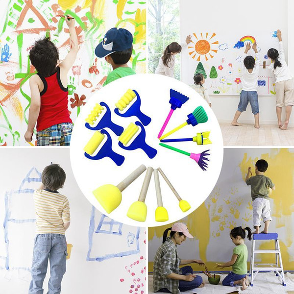 best selling 4 Pcs set Children's Sponge Brush Roller Diy Painting Tool Baby Early Creative Education Toy Drawing Graffiti For Kids Wholesale