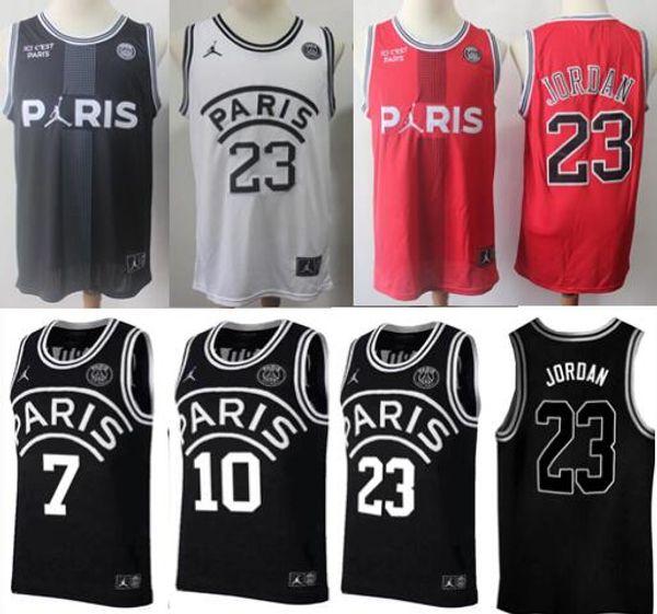 2019 PSG Paris Jersey 23 Michael JD 7 MBAPPE Paris Basketball Jerseys PSG X AJ Basketball Jersey Jordam Paris Saint Germa